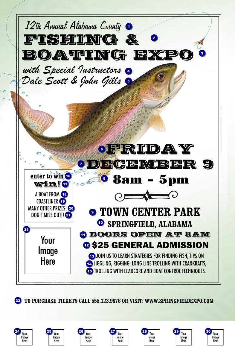 Fishing And Boating Expo Poster Ticket Printing