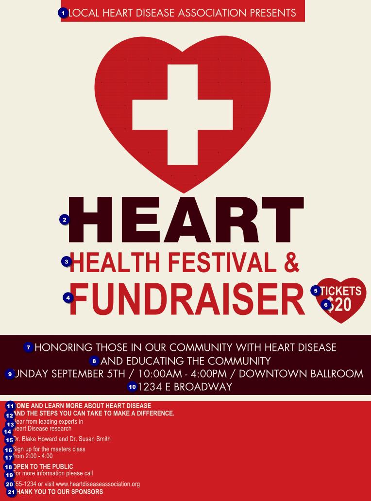 heart health flyer ticket printing