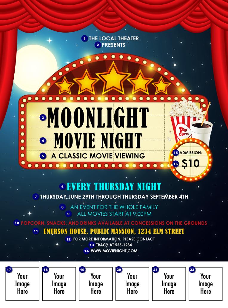 movie night logo flyer