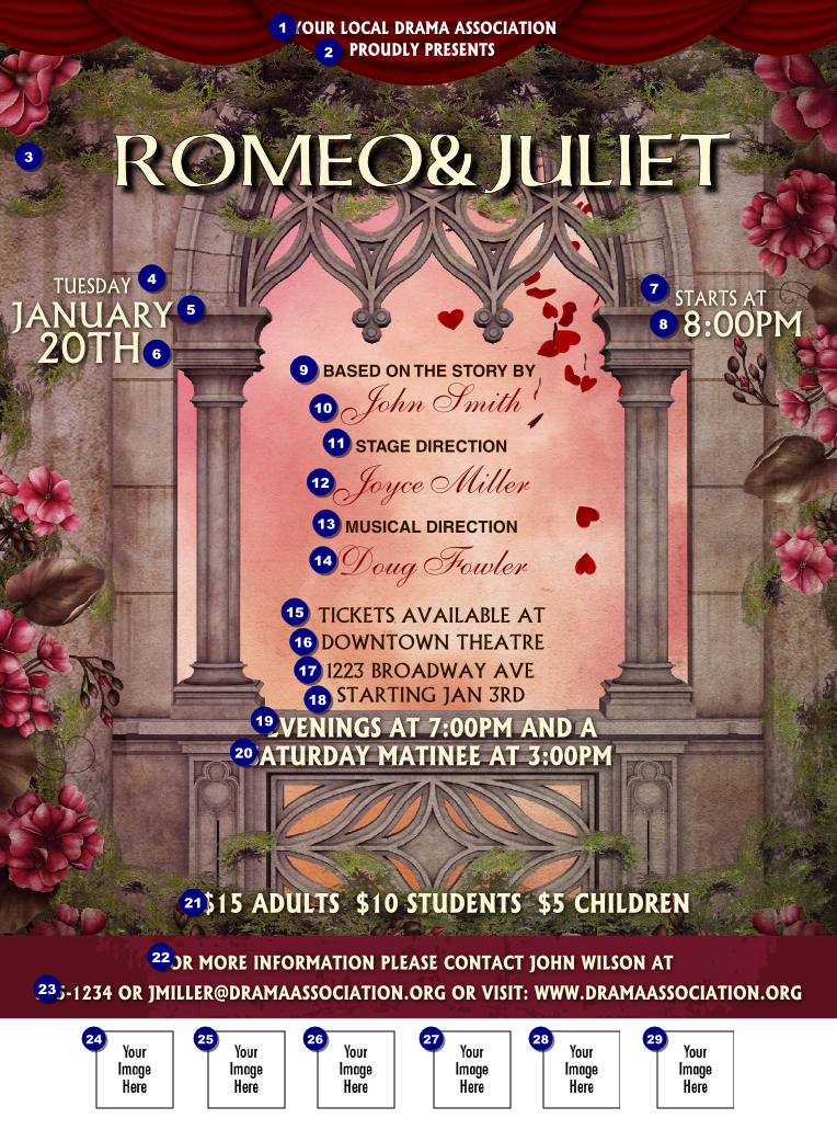 Romeo And Juliet Logo Flyer Ticket Printing