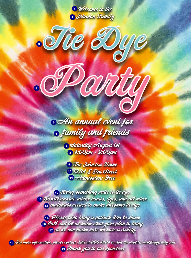 Tie Dye Flyer Ticket Printing